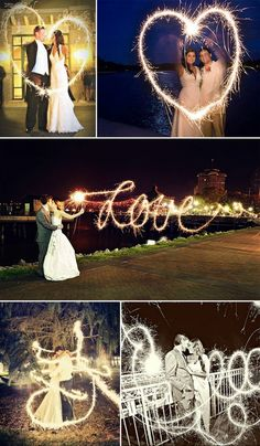 long exposure for sparklers. set camera mode to M (manual). set f/stop to f5.6. set shutter speed to 4 (4 seconds) or slower (make the shutter speed faster for more defined words). set white balance to tungsten. the love script in the middle is pretty awesome as she would have had to write it backwards! bottom two are like the fairy waved her magic wand around the couple!