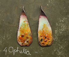 twisted amber yellow white lampwork enamel glass charms 2pc 4ophelia