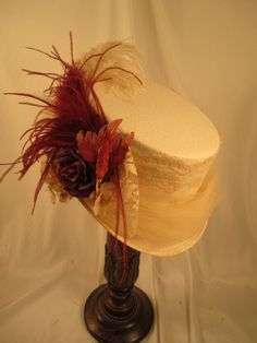 IVORY BURGUNDY Riding  Victorian Top Bridal Wedding  Hat  Lace Tulle Feathers   #EMILYWAYHATS #Ridinghat