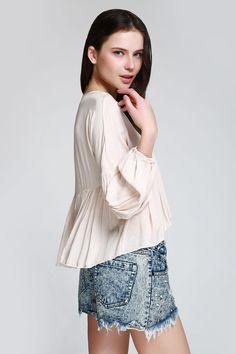 Ruffle Asymmetrical Long Sleeve Blouse