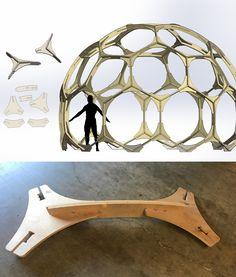 Geodesic Hex Dome CNC plywood modular pattern