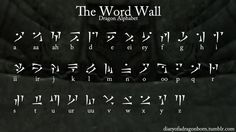 totally recreating this Skyrim dragon language alphabet on a poster