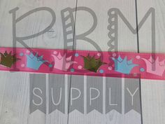 Crown Ribbon  Pink  by RoyalBowMakerSupply on Etsy