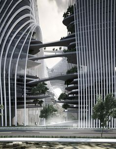 Cascading Waterfalls with Integrated Bridges in Shan Shiu City,by MAD architects,Guiyang,China