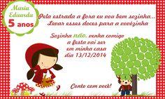 Convite de Aniversário Chapeuzinho Vermelho no Photoshop para Imprimir.