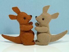 Tiny, handmade wool felt kangaroos!