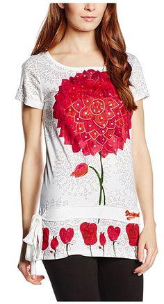 #Desigual Shirt - Modell Jude, Muster:  floral, exotisch und Mandala, weiß.