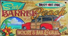 Our Woody Sufing indication, is a rustic-like coastal shore sign with surfing motif images paper directly to a distressed wood panel that has knots along with other imperfections. Vintage Beach Signs, Vintage Wood Signs, Vintage Surf, Vintage Travel, Wooden Signs, Water Surfing, Timberwolf, Image Paper, Surfing Pictures