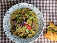 Cooking a very simple supper of roast veg, orzo and homemade pesto