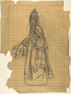 Russian female costume Léon Bakst  (Russian, Grodno 1866–1924 Paris) Date: n.d. Medium: Graphite on tracing paper, squared
