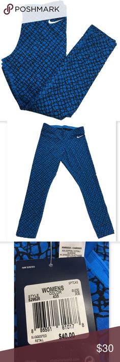 Nike Club Crop leggings Nike Club Crop leggings. Blue with black design. 92% cotton 8% spandex. Comfy elastic waist.  Great for working out or shopping Nike Pants Leggings