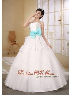 Aqua Blue Bow Sash Decorate On Waist Custom Made Strapless Neckline Ball Gown Organza Wedding Dress