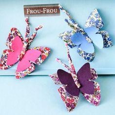 DIY papillons en tissu - Frou-Frou   LOUISE magazine Diy Papillon, Frou Frou, Blog Couture, Magazine, Butterfly, Drop Earrings, Band, Accessories, Textiles