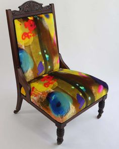 TB Graffiti Wooden Chair in velvet is looking for a new home. Mirrored Bedroom Furniture, Bedroom Furniture Makeover, Refurbished Furniture, Painted Furniture, Patio Furniture Cushions, Chair Upholstery, Upholstered Chairs, Furniture Chairs, Art Furniture
