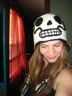 "I love Etsy & all of the talented artists found on the site. Jessica (SnoKNolly) makes some of the most creative, yet functional hats! Here's an example of the ""Day of the Dead"" skeleton hat; she made one for me, along with some fabulous ""Sugar Skull"" hats. Love, love, love... :)"