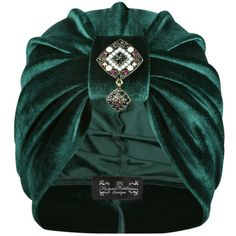The Future Heirlooms Boutique Astala Jewel Velvet Turban ($46) ❤ liked on Polyvore featuring accessories, hats, green, velvet turban, velvet hat, turban hat and green hat
