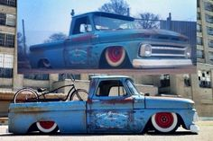 Low Rider Chevy Truck, nice old patina.