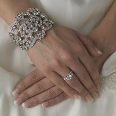 Modern Vintage Crystal Cuff Bracelet - statement bracelet for prom!