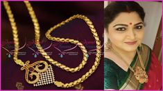 latest thali chain designs with side mugappu Jewellery Earrings, Temple Jewellery, Chain Jewelry, Jewelry Necklaces, Gold Jewellery Design, Gold Jewelry, Gold Mangalsutra, Gold Designs, Gold Chains