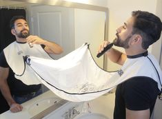 Tired of cleaning up after trimming? Try the Beard Bib by www.TheBeardKing.com hahaha this is awesome