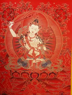 leaf carving art,grass fabric art,hand embroidery art and straw art,leather carving art are all natural forms which come from oriental art forms. Lotus Buddha, Art Buddha, Tibetan Art, Tibetan Buddhism, Buddhism Symbols, Vajrayana Buddhism, Zen Painting, Thangka Painting, Buddhists