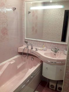 Tiny house bathroom in pink