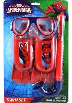 Spiderman 3 pc Swim Set on Blister Card Baby Girl Toys, Toys For Girls, Kids Toys, Punisher Logo, Snorkel Set, Spy Gear, Pool Games, Blue Color Schemes, Swim Sets