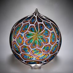 Aqua, Gold and Hyacinth Ellipse Art Glass Vessel Created by David Patchen - Blown Glass - ContemporaryArt Glass Antique Bottles, Vintage Perfume Bottles, Glass Vessel, Glass Tiles, Corning Museum Of Glass, Modern Glass, Wedding Art, Stained Glass Art, Art And Architecture