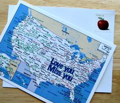 Cutest Map Postcard printables ever for National Letter Writing Month!