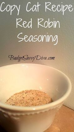 Copy Cat Recipe Red Robin Seasoning is part of Seasoning recipes - Did you preorder Budget Savvy Diva's Book Yet ! Over 40 Recipes Find out all the details HERE The Red Robin Restaraunt is famous for their gourmet burgers and fries Their secret ingredient Homemade Spices, Homemade Seasonings, Homemade Dry Mixes, Red Robin Seasoning, Barbacoa, Do It Yourself Food, Gourmet Burgers, Recipe Mix, Seasoning Mixes