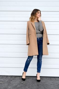 french style basics, striped top, distressed skinny jeans, camel coat, black pumps, ombre hair, fashion blog, the august diaries7