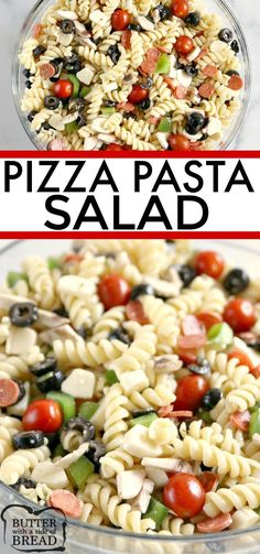 Pizza Pasta Salad is easy to make and full of pepperoni, mozzarella cheese, olives and all of your other favorite pizza toppings! This pasta salad is perfect for parties and potlucks! BUTTER WITH A SIDE OF BREAD Salad Recipes Holidays, Side Salad Recipes, Salad Recipes For Dinner, Summer Salad Recipes, Top Recipes, Healthy Salad Recipes, Side Dish Recipes, Pasta Recipes, Cooking Recipes