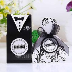 [US$ 2.99] Bride & Groom Favor Boxes With Ribbons (Set of 12) (050024709)