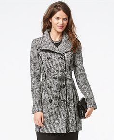 GUESS Textured Belted Trench Coat - Coats - Women - Macy's