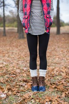 fall outfit idea, duck boots, buffalo plaid puffer vest, stripe turtleneck, fall layers