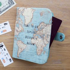 Time To Go Vintage Map Passport Holder | Stationery & Notebooks | Sass & Belle