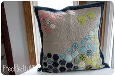 hexagon quilted pillow