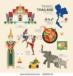 Illustration of Travel Concept Thailand Landmark Flat Icons Design .Vector Illustration vector art, clipart and stock vectors. Thailand Tourism, Thailand Art, Thailand Travel, Pattaya Thailand, Icon Design, Flat Design Icons, Flat Icons, Free Stock, Travel Icon
