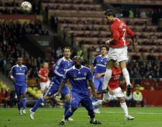 Ronaldo showcases his aerial abilities scoring for United in the 2008 Champions League final against Chelsea