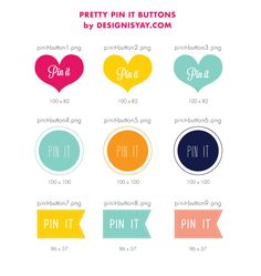 Free Pretty Pin it Buttons + Tutorial...  Lately you might see quite a number of blogs with Pin it Buttons for individual images that enables you to click and pin the certain image straight away on Pinterest. This is great for you bloggers out there.