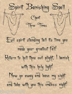 Spirit Banishing Spell, Book of Shadows Page, BOS Pages, Real Witchcraft Spell
