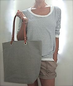 Natural Linen Tote Bag Slate with Brown by IndependentReign, $134.00