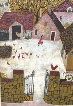 Farmyard and chickens 1960s Roger Duvoisin