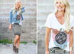 Graphic tee - jean jacket - stripe skirt - fall fashion - outfit inspiration - @evereveofficial