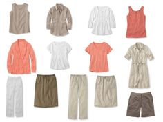 A simple Coral & Khaki summer capsule wardrobe, with accessories