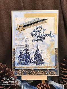 Joyce's Creations: Friends of Unity July Blog Hop Winter Christmas, Christmas Cards, Unity Stamps, Wonderland, Vintage World Maps, Friends, Blog, Fir Tree, Christmas E Cards