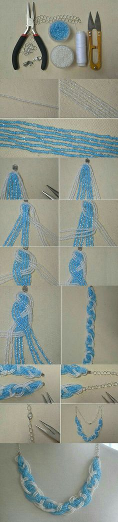 Do you love make seed bead necklace? This article will show you how to make a blue braided seed bead necklace at home. Seed Bead Necklace, Seed Bead Bracelets, Seed Bead Jewelry, Diy Necklace, Beaded Jewelry, Handmade Jewelry, Necklaces, Pendant Necklace, Seed Bead Patterns