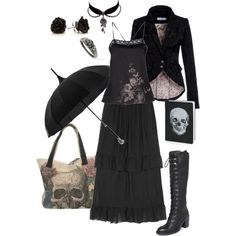 Designer Clothes, Shoes & Bags for Women Modern Witch Fashion, Dark Fashion, Luxury Fashion, Hydrangea, Witch Outfit, Gothic Outfits, Cute Casual Outfits, Swagg, Alternative Fashion