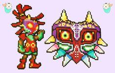 Zelda Sprites Perler Magnets Skull kid  by MerkittenCrafts on Etsy