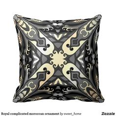 Royal complicated moroccan ornament throw pillow  Moroccan ornament for bedroom make interior unique and add aesthetics sense. Ornament create in oriental tradition. #Home #decor #Room #accessories #Interior #decorating #Idea #Styles #abstract